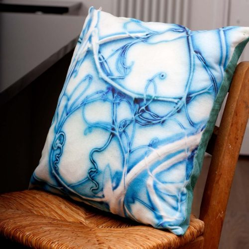 Blue Sweetpea | White & Blue Sofa Cushion Bold Design