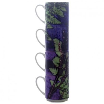 Plum Fern | Green & Purple Stacking Mug, Gift Set of 4