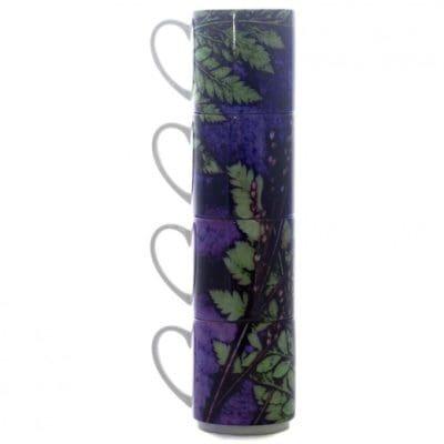 Plum Fern | Green & Purple Stacking Mug, Gift Set of 4