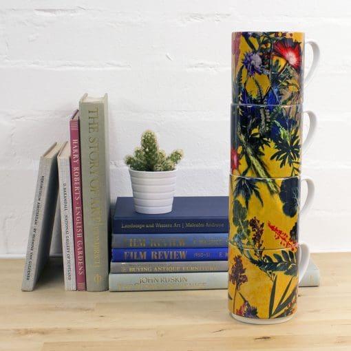 Summer Tropics   Green & Yellow Stacking Mug, Gift Set of 4