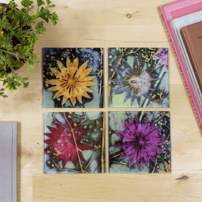 Branching Astrantia | Purple & Orange Set of Glass Coasters