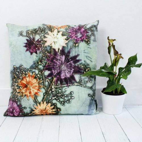Branching Astrantia | Purple & Orange Sofa Cushion Country Style