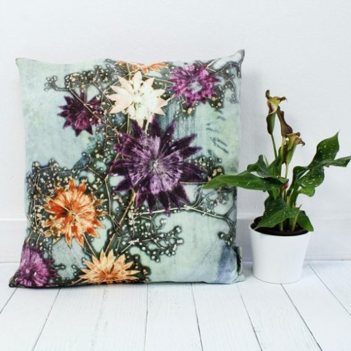 Branching Astrantia | Purple & Orange Sofa Cushion Country Style