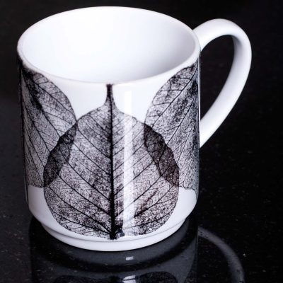 White Skeletal Leaves Ceramic Mug - Home and Kitchen Accessory