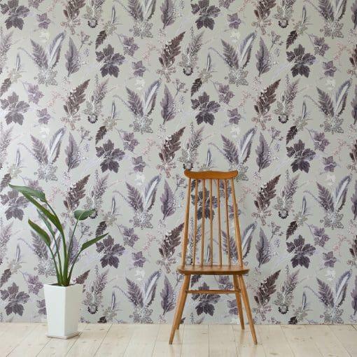 Winter Flourish | White & Black Designer Wallpaper, Country Interior