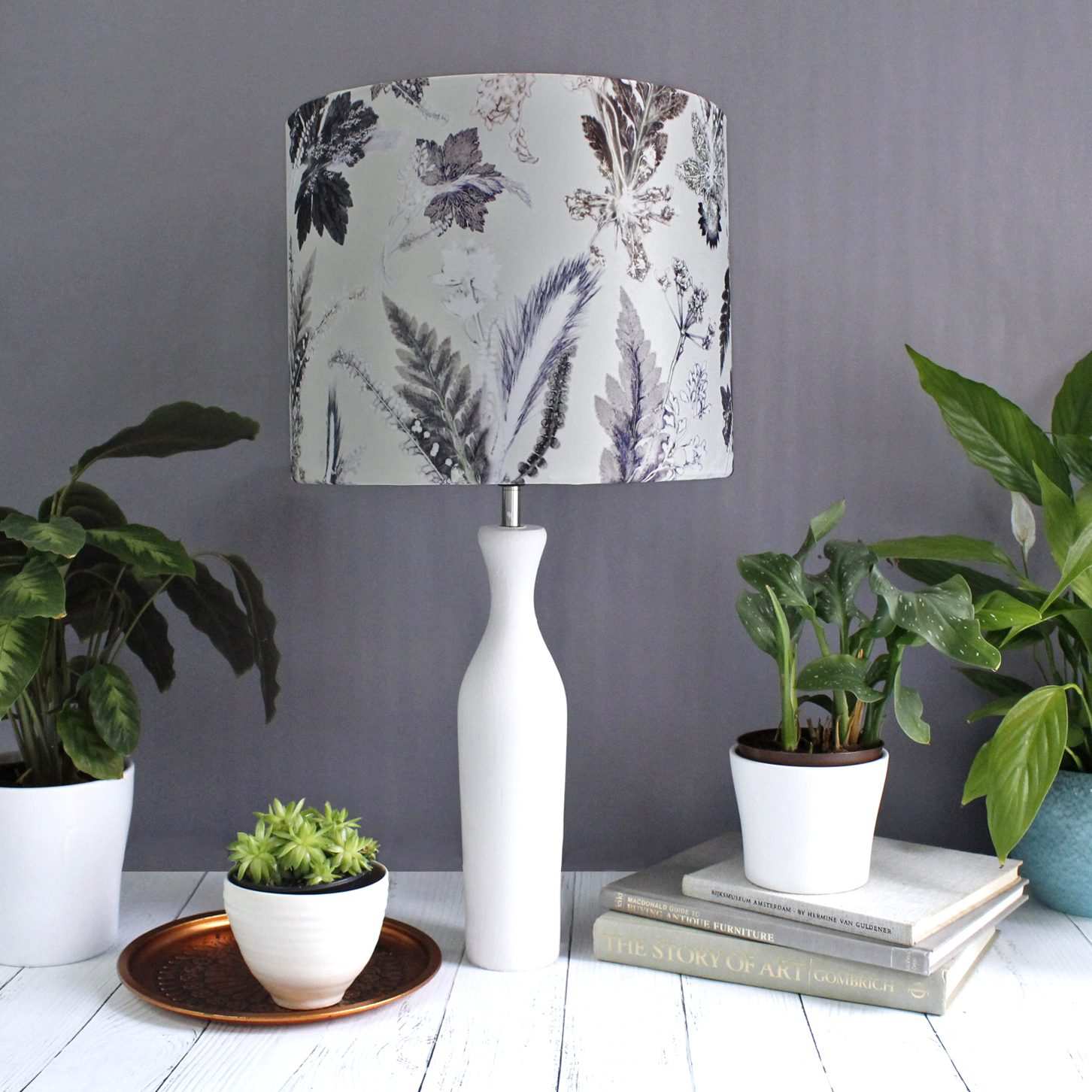 Winter Flourish | Black & White Lamp Shade For The Bedroom