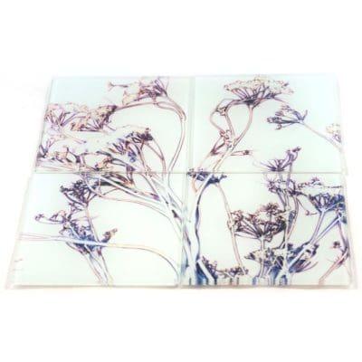 Roadside Wonder | Pink & White Set of Glass Coasters