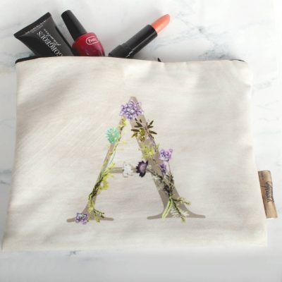 Personalised Letter and Name Floral Makeup & Travel Bag