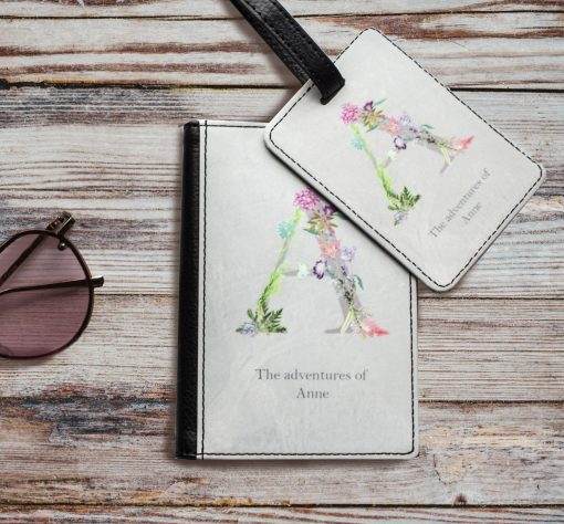 Personalised Passport Cover with Floral Letter Initial and Name