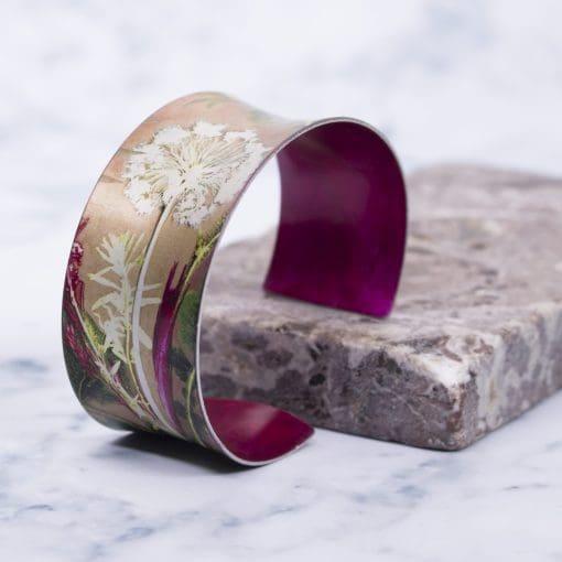 Tropical Dusk Aluminium Jewellery, Exotic Cuff Bracelet