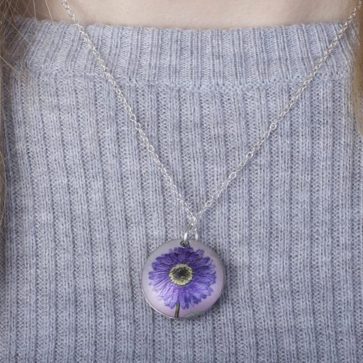 September Aster Birth Flower, Personalised Photo Locket Necklace Gift For Her, Beautiful Floral Pendant Jewellery.