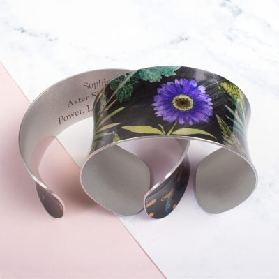September Birth Flower Bracelet Gift For Her, Aster, Beautiful Floral Bangles and Jewellery.
