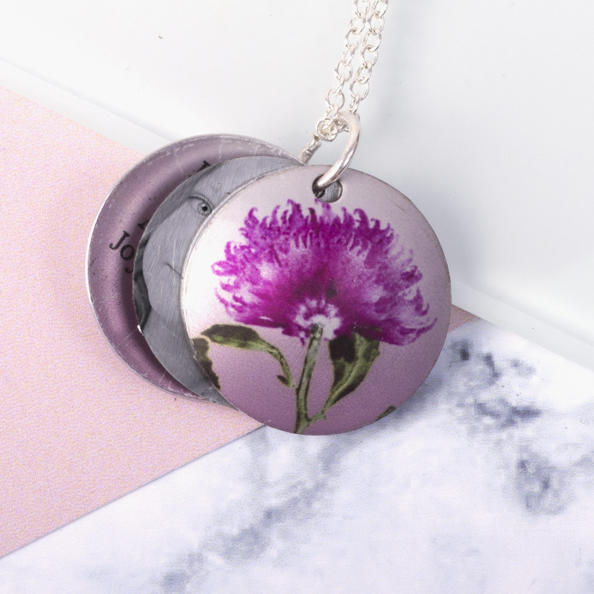 November Chrysanthemum Birth Flower, Personalised Photo Locket Necklace Gift For Her, Beautiful Floral Pendant