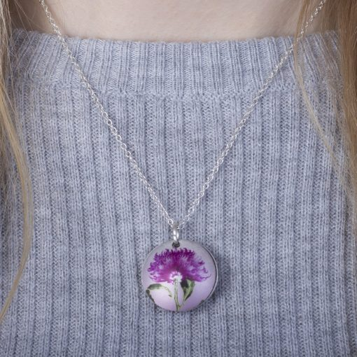 November Chrysanthemum Birth Flower, Personalised Photo Locket Necklace Gift For Her, Beautiful Floral Pendant Jewellery.