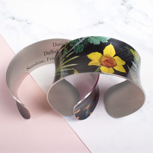 March Birth Flower Bracelet Gift For Her, Daffodil, Beautiful Floral Bangles and Jewellery.