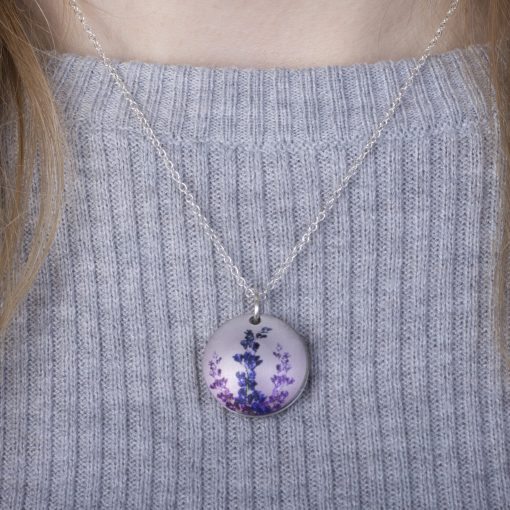 July Delphinium Birth Flower, Personalised Photo Locket Necklace Gift For Her, Beautiful Floral Pendant Jewellery.