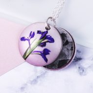 February Iris Birth Flower, Personalised Photo Locket Necklace Gift For Her, Beautiful Floral Pendant Jewellery.