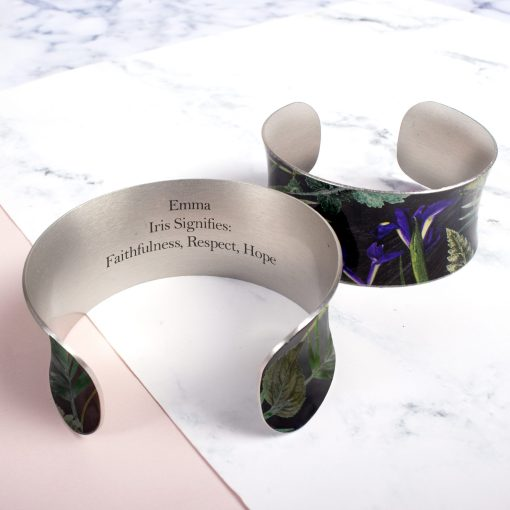 February Birth Flower Bracelet Gift For Her, Iris, Beautiful Floral Bangles and Jewellery.