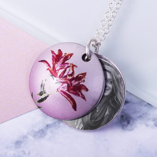 May Lily Birth Flower, Personalised Photo Locket Necklace Gift For Her, Beautiful Floral Pendant Jewellery.