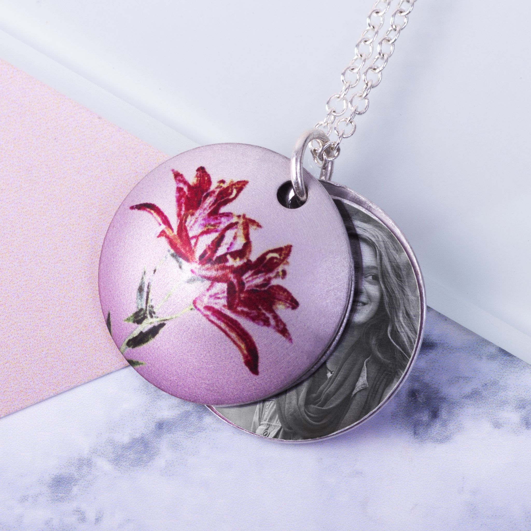 May lily birth flower personalised photo locket necklace gift for may lily birth flower personalised photo locket necklace gift for her beautiful floral pendant izmirmasajfo