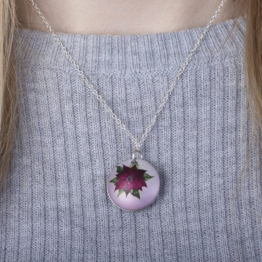 December Poinsettia Birth Flower, Personalised Photo Locket Necklace Gift For Her, Beautiful Floral Pendant Jewellery.
