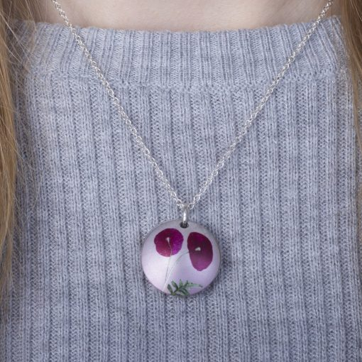 August Poppy Birth Flower, Personalised Photo Locket Necklace Gift For Her, Beautiful Floral Pendant Jewellery.