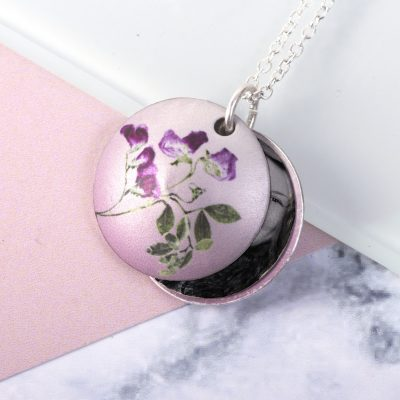 April Sweet Pea Birth Flower, Personalised Photo Locket Necklace Gift For Her, Beautiful Floral Pendant Jewellery.