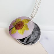 March Daffodil Birth Flower, Personalised Photo Locket Necklace Gift For Her, Beautiful Floral Pendant Jewellery.