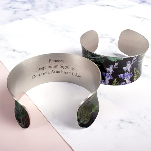 July Birth Flower Bracelet Gift For Her, Delphinium, Beautiful Floral Bangles and Jewellery.