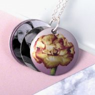 October Marigold Birth Flower, Personalised Photo Locket Necklace Gift For Her, Beautiful Floral Pendant Jewellery.