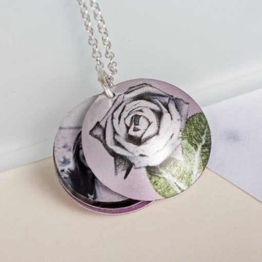 June Rose Birth Flower, Personalised Photo Locket Necklace Gift For Her, Beautiful Floral Pendant Jewellery.