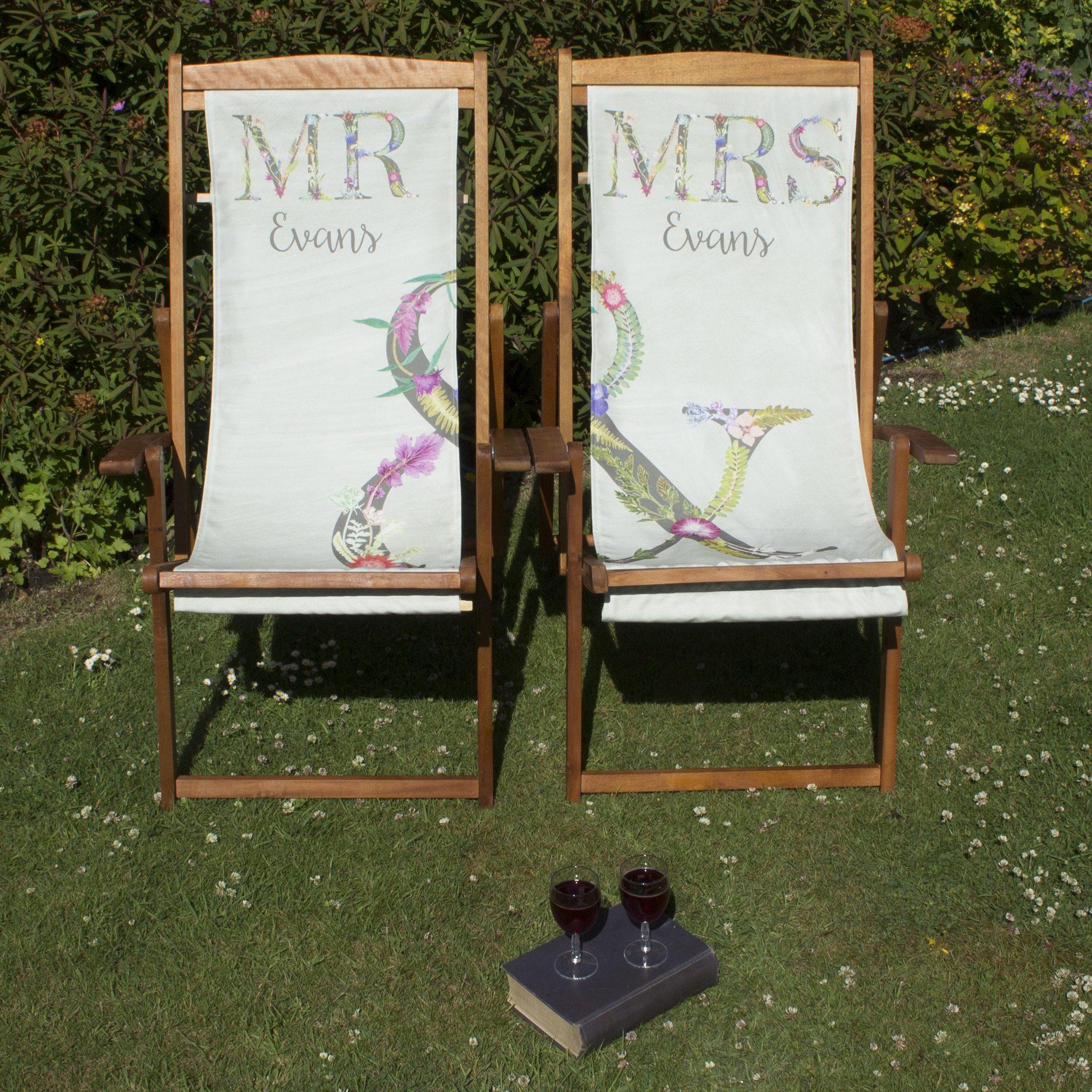 £25.00; Mr U0026 Mrs Deckchairs | Personalised Matching Wood Deckchairs