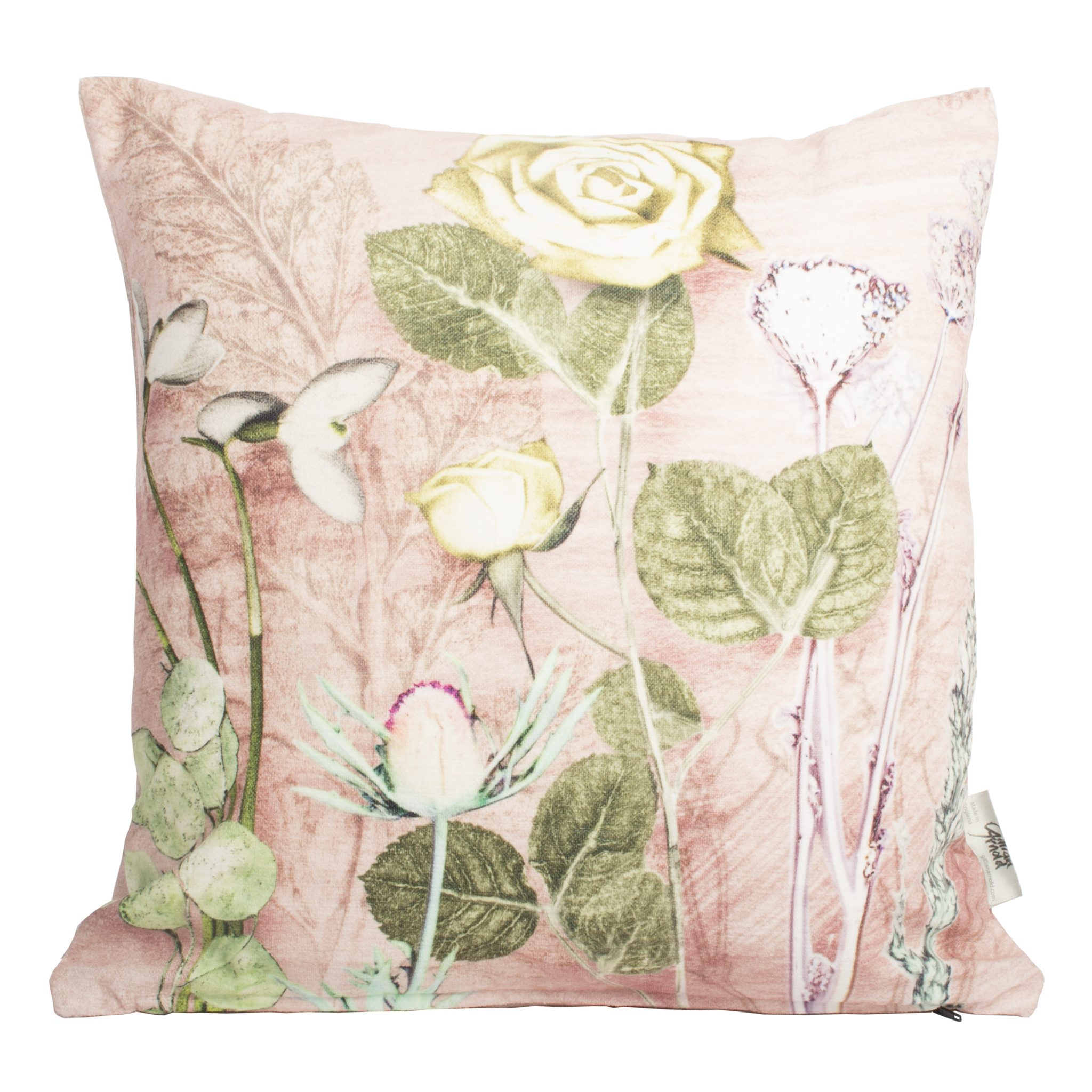 Mothers Pink Bouquet 1 Green Sofa Cushion Country Style
