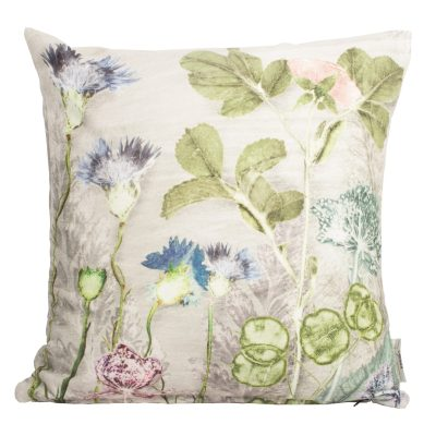 Mothers Silver Bouquet 2 | Silver & Green Sofa Cushion Country Style