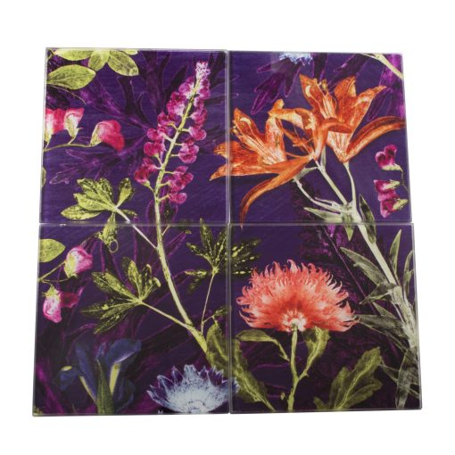Purple Whisper | Orange & Purple Set of Glass Coasters
