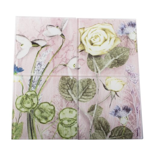 Mothers Pink Bouquet | Green & Pink Set of Glass Coasters