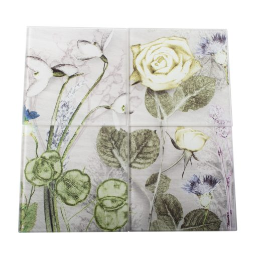 Mothers Silver Bouquet | Silver & Green Set of Glass Coasters