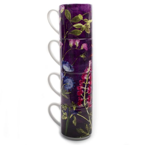 Purple Whisper | Green & Purple Stacking Mug, Gift Set of 4