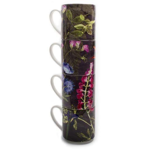 Midnight Bloom | Pink & Purple Stacking Mug, Gift Set of 4