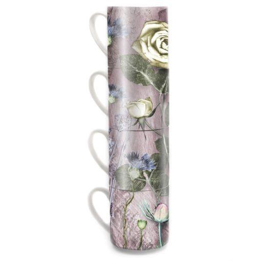 Mothers Pink Bouquet   Pink & Cream Stacking Mug Set of 4