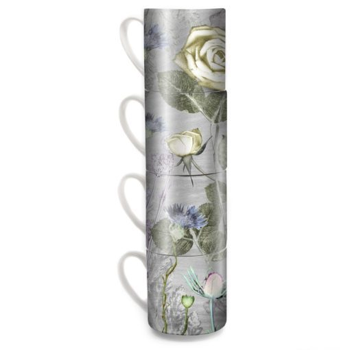 Mothers Silver Bouquet | Silver & Cream Stacking Mug Set of 4