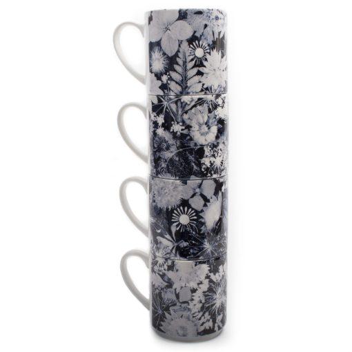 Cascades of Blue | White & Blue Stacking Mug, Gift Set of 4