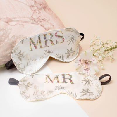 Mr & Mrs Matching Eye Masks | Travel Accessory, Couples Gift