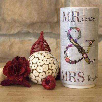 Mr & Mrs Stacking Mugs | Mr & Mrs Personalised Gift
