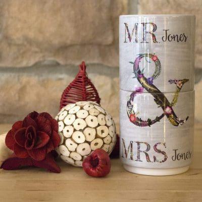 Mr & Mrs Stacking Mugs | Mr & Mrs Personalised Gift