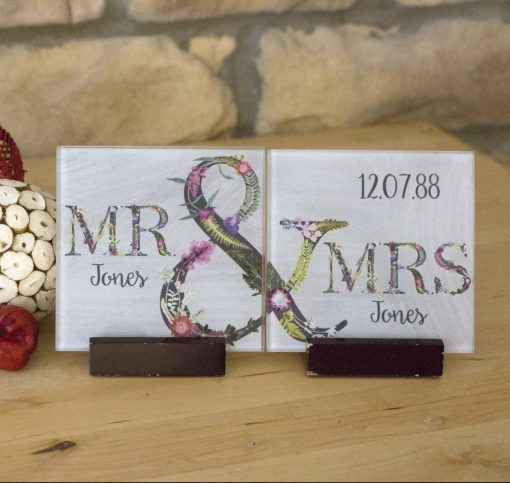 Couples Matching Coaster Set | Mr & Mrs Personalised Gift