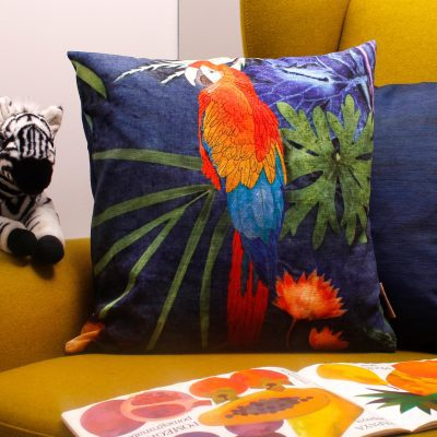Exotic Parrot | Red & Blue Sofa Cushion Tropical Interior