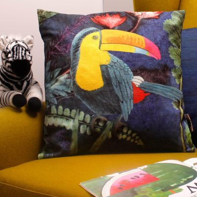Tropical Toucan | Blue & Yellow Sofa Cushion Tropical Interior