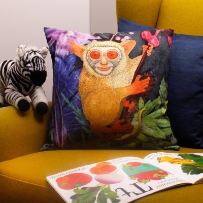 Beautiful Bush Baby | Brown & Blue Sofa Cushion Tropical Interior