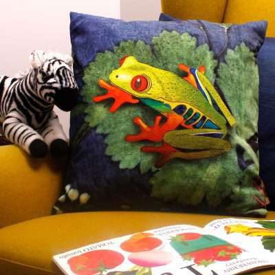 Exotic Frog | Blue & Green Sofa Cushion Tropical Interior
